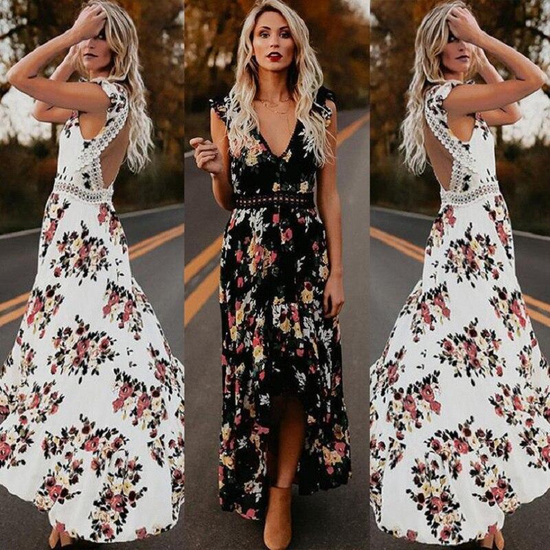 a10b9cfad ZOGAA mujeres Boho sin espalda Irregular Floral impreso vestido 2019 verano  profundo V recortado ...