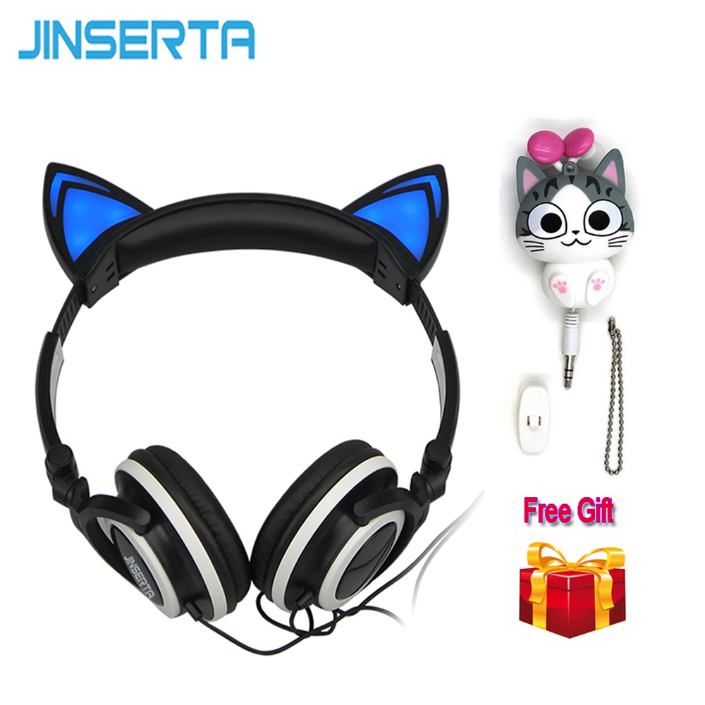 JINSERTA Cat Ears Headphones with LED Glowing Lights over the ears Gaming Headphones Cheese cat earphone for Mobile Phone Pad PC mini kompas sleutelhanger