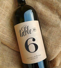 Table Number Wine Labels, Personalized Name and Date, Kraft Wedding Party Gift Favors, Table Decor,Wine Bottle Number Sticker(China)