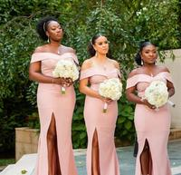 Cheap South African Bridesmaid Dress Pink Summer Country Garden Formal Wedding Party Guest Maid of Honor Gown Plus Size