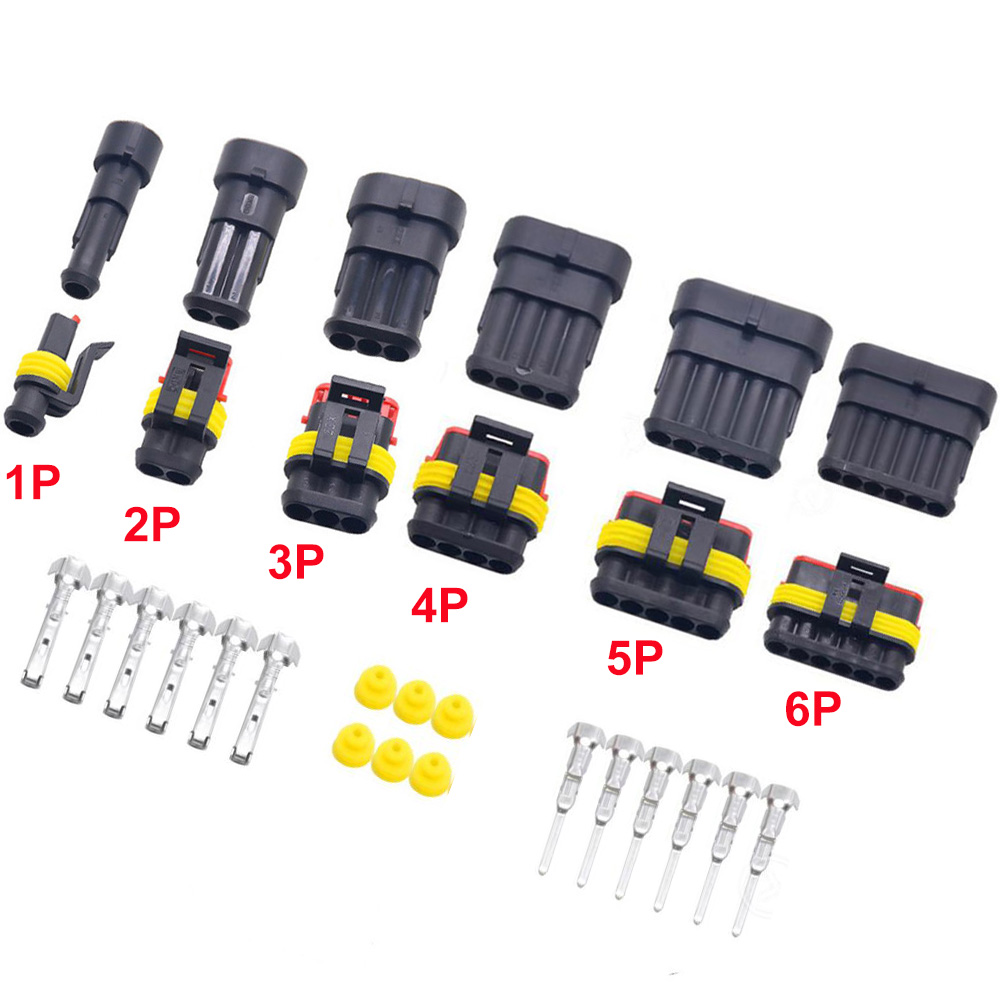 5sets 1.5 Kit 2 3 4 5 6 Pins Way Female Male Super Seal  Waterproof Electrical Wire Cable Automotive Connector Car Plug