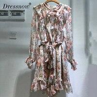 Высокое качество летнее платье для женщин, элегантные платье с длинными рукавами с цветочным принтом платье до колен с бантом