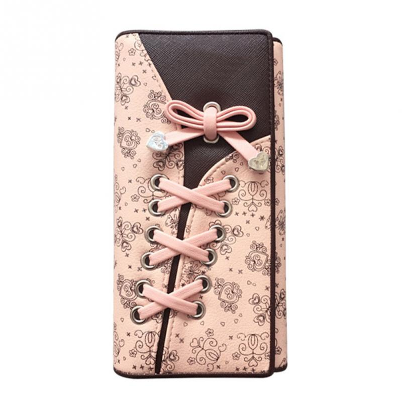 Fashion Wallets Purse Hand-Bag Female Women Lady Hasp Long 3-Deck Shoelace Ties Dollar-Price