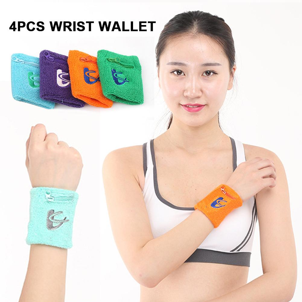 4PCS Wrist Wallet Coin Purse Sweat-Absorbent Towel Wristband With Zipper Suitable For Gym Running Walking Basketball Tennis