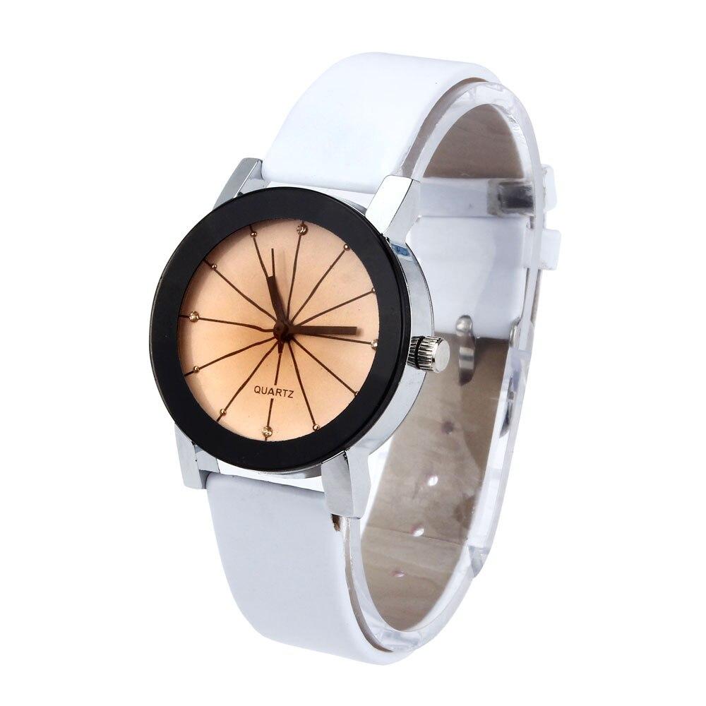 a6c46836bbe 2016 Moda Unissex Mostrador do Relógio de Quartzo Das Mulheres Dos Homens  Pulseira De Couro Analógico relógio de Pulso Branco Relógios de Pulso  relogios ...