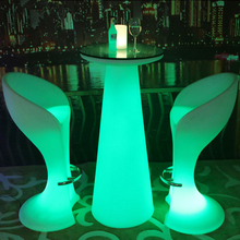 H120cm high lounge bar table LED rechargeable, wireless glowing stand indoor/outdoor with remoter and US/EU/AU/BS adapter
