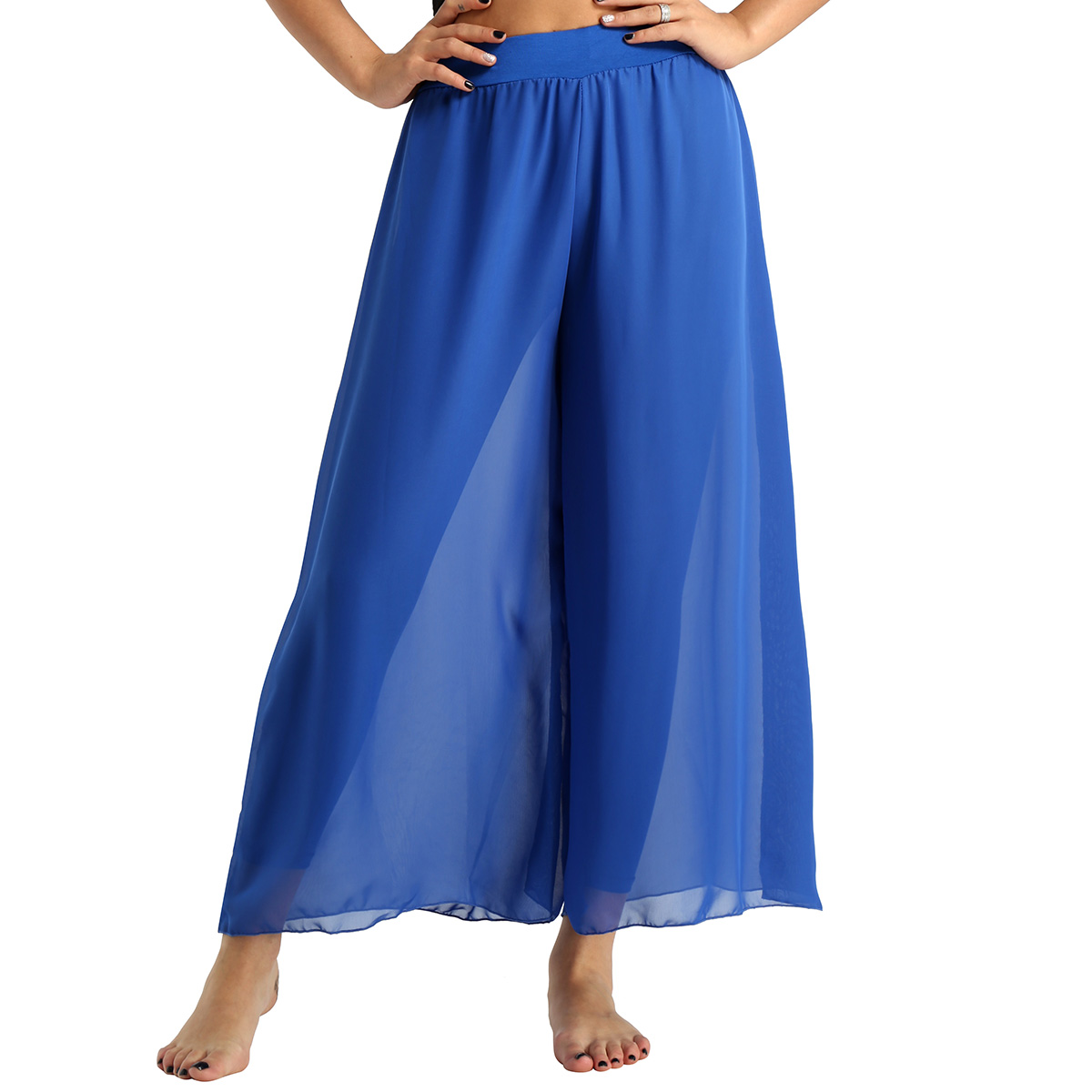 MSemis Womens Belly Dance Pants Flowy Chiffon High-waisted Loose Wide-leg Pants for Girls Performance Costume Ballet Dance Pants