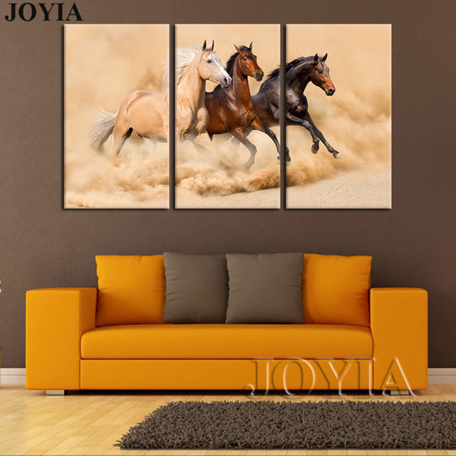 Wall Decor Horse Painting Canvas Print Art 3 Piece Horses Running Large For