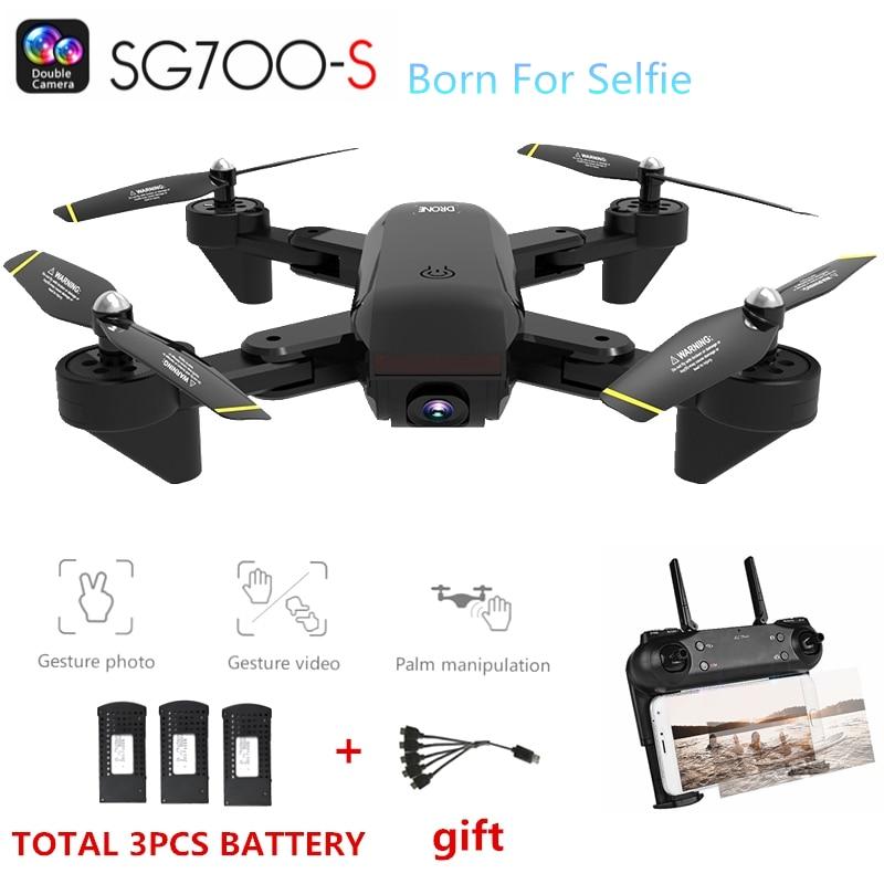 SG700-S RC Quadcopter con la Macchina Fotografica 1080 p Wifi Drone Selfie Flusso Ottico Dron Palma Elicottero di Controllo 3 pz Batteria Drone giocattoli per bambini
