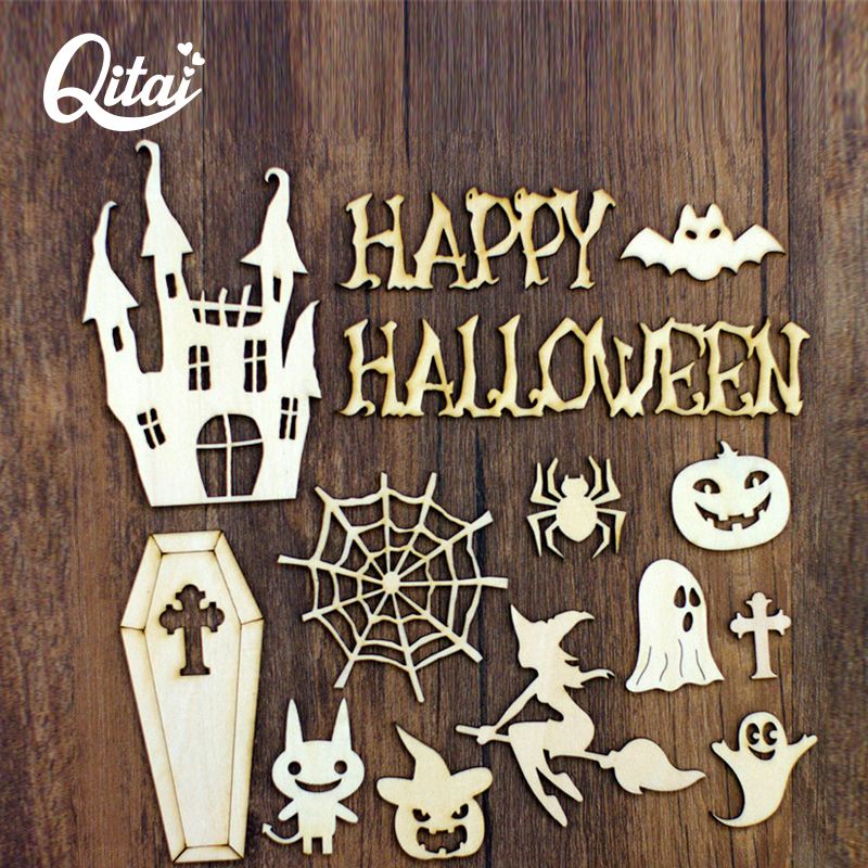 Halloween Miniaturen.Us 7 04 50 Off Qitai 35 Stks Partij Halloween Houten Emblishment Set Hout Diy Home Decoratie Beeldjes Miniaturen Decoratieve Kleine Model Wf247 In