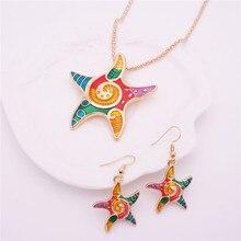 Gótico Mar estrellas de mar de Color Multi Estrella Colgante Collar Para Regalo de Las Mujeres Conjunto de Joyas