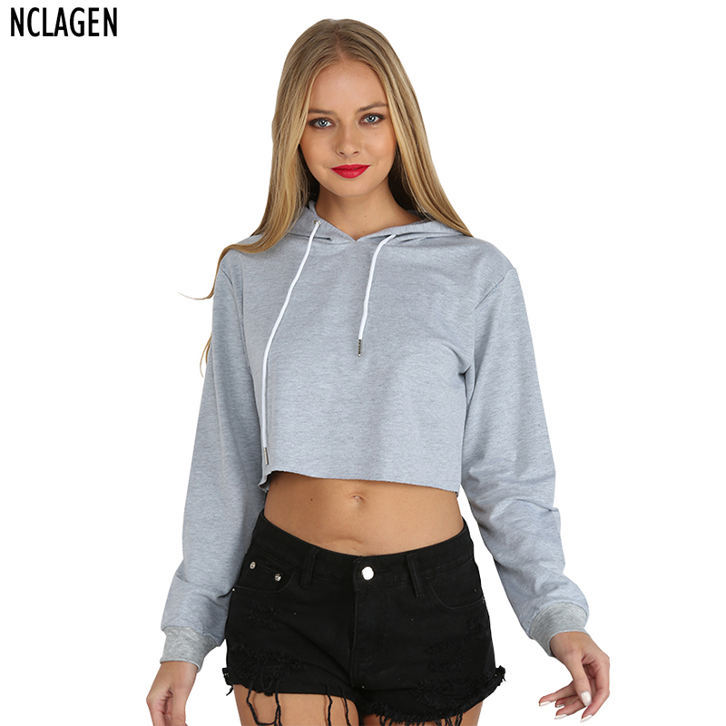 NCLAGEN Women Fashion Casual Loose Punk Hooded Hoodie Long Sleeve Stylish Crop Top Spring Autumn ...