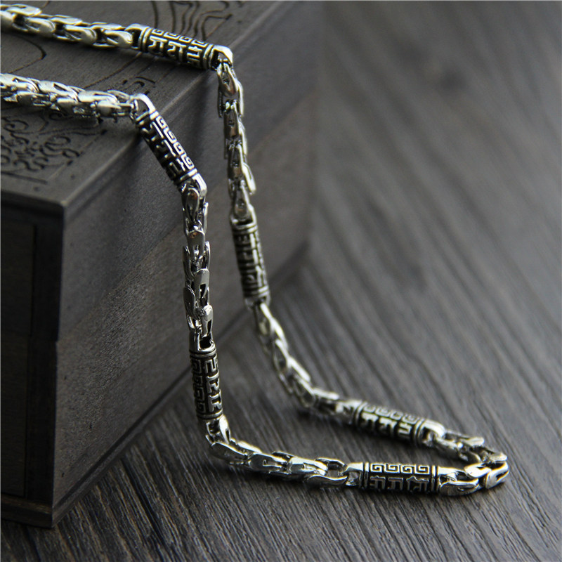 925 Sterling Silver Vintage Necklace For Men Engraved Six Words Mantra Thai Silver Necklace Chain 5MM Amulet Men Jewelry gagafeel vintage chain 925 sterling silver six mantra words necklaces for men handmade chain link female male silver drop ship