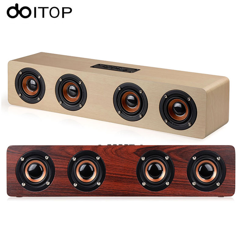 DOITOP Wood W8 Bluetooth Stereo Speaker Powerful Four Loudspeakers Subwoofer for TV Home Theatre Wireless HiFi Speaker TF Card wireless bluetooth speaker led audio portable mini subwoofer