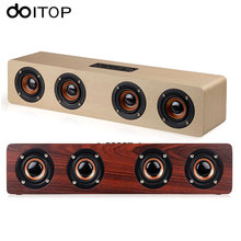 DOITOP Wood W8 Bluetooth Stereo Speaker Powerful Four Loudspeakers Subwoofer for TV Home Theatre Wireless HiFi Speaker TF Card