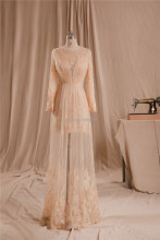 Lace Long Sleeves Evening Dress with Beads Floor Length Sheer Bottom Women Formal Party Dress Real Photo