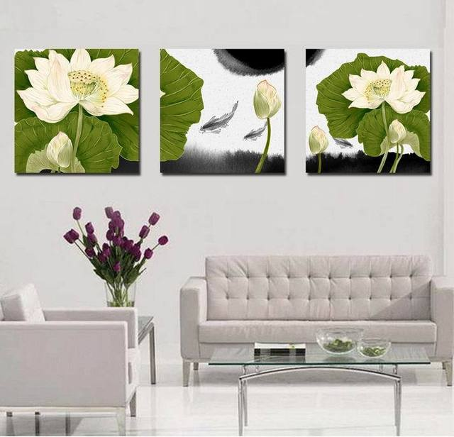 Large Picturecrafts Lotus Flower Chinese Painting Canvas Art Unique