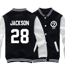 2016 NEW GOT7 Jackson JB Sweatshirt Fleece Thick Autumn Long Sleeve Women/Ladies Hoodies Overcoat Female Baseball Jacket