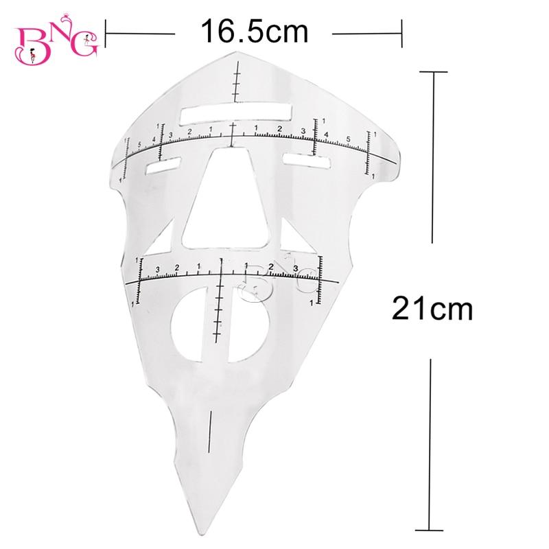 BNG Makeup Face Eyebrow Tattoo Linjalåtgärd Stencil Tool Återanvändbar för Microblading Brow Permanent Makeup Eyebrow Guide Linjal