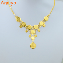 Anniyo Gold Color Overlay Islam Muslim Coin Necklaces 45cm Money Sign Chain,Great Money Maker Gifts