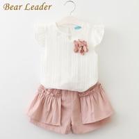 Bear Leader Girls Clothing Sets 2017 Brand Summer Style Kids Clothing Sets Sleeveless White T-shirt+Pink Pants 2Pcs Girls Suits
