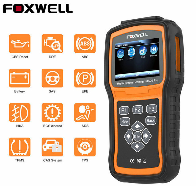 US $180 25 |FOXWELL NT520 OBD2 Car Dagnostic Tool Full System engine ABS  Airbag EPB Oil Reset for Toyota Maserati VAG BMW BENZ OBD 2 Scanner-in Code