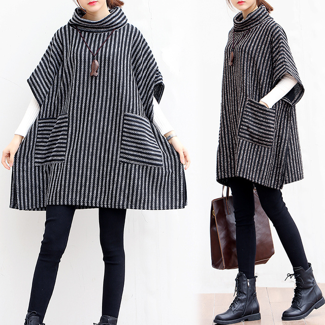 P Ammy Lagenlook Batwing sleeve Big pocket Striped knitted Sweater Poncho  Lady Turtleneck Fall Winter Loose knitted cotton Tops 1