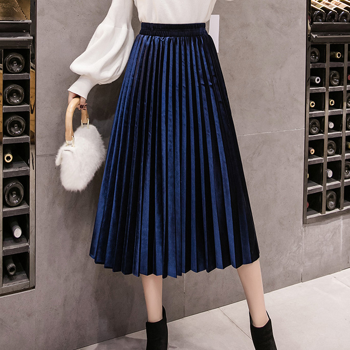 Velvet Skirt Skinny Large Swing Long Pleated Women Skirts Autumn Winter Plus Size Faldas Saia Female Jupe