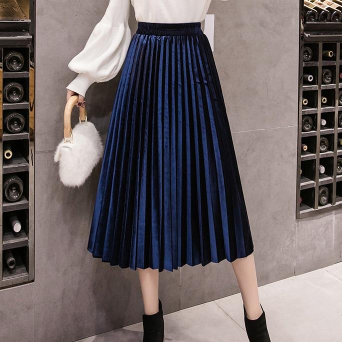 Velvet Skirt Skinny Large Swing Long Pleated Women Skirts Autumn Winter Plus Size Faldas Saia Female Jupe