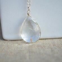 Dandelion Wish Real Flower Water Drop Pendant 925 Sterling Silver Chain Necklace Women Choker Boho Fashion Jewelry Bohemian