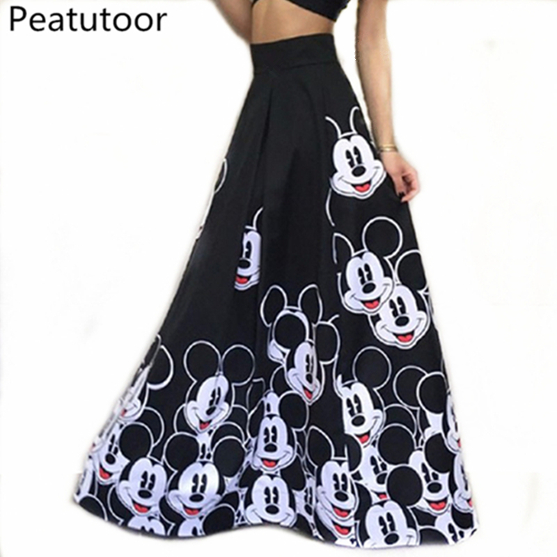 2018 Fashion Maxi Long Skirt Floor Length Ladies Elastic High Waist Muslim Skirts Women Mickey Printed Boho Vintage Midi Skirt Юбка
