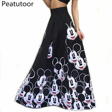 2018 Fashion Maxi Long Skirt Floor Length Ladies Elastic High Waist Muslim Skirts Women Mickey Printed Boho Vintage Midi