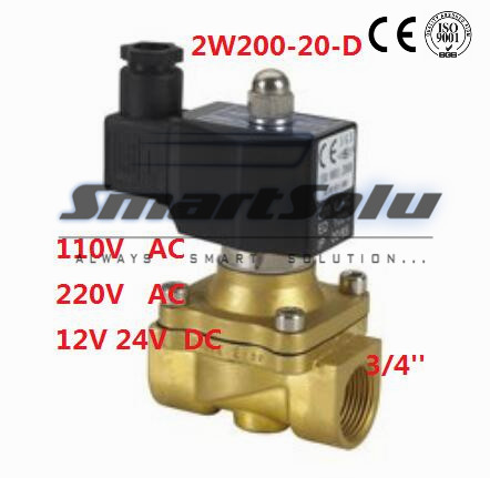Free Shipping IP67 3/4 Ports Electric Solenoid DIN Valve Water 2W200-20-D Air N/C DC12V,DC24V,AC110V or AC220V zndiy bry dc 12v g1 2 n c brass inlet solenoid valve w water proof case for water control