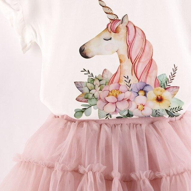 Unicorn Printed Cotton Shirt And Tutu Skirt