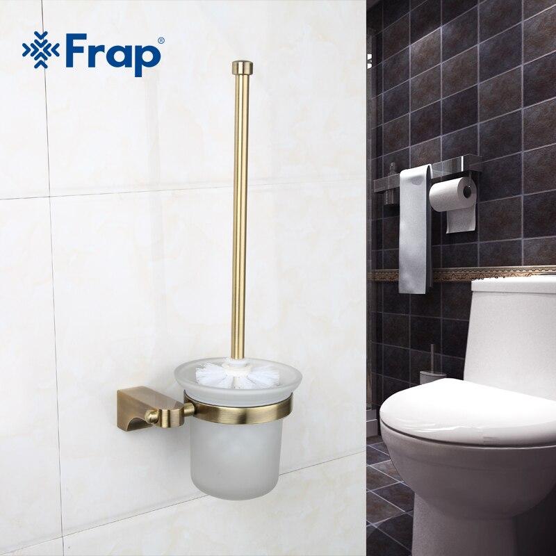 frap 1 set retro toilet space aluminum brush holder mounting seat glass cups bathroom hardware. Black Bedroom Furniture Sets. Home Design Ideas
