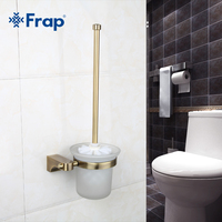 1 Set Retro Toilet Space Aluminum Brush Holder Mounting Seat Glass Cups Bathroom Hardware Accessories F1410