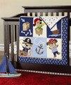 7 peça bebê recém-nascido berço bedding set para meninos 100% algodão, reativa e 3d bordado qualidade berço bedding, projeto do cão pirata