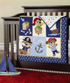7 piece newborn baby crib bedding set for boys 100% cotton,Reactive and 3D embroidery quality baby cot bedding,pirate dog design