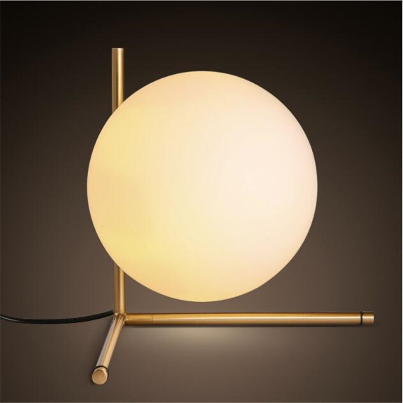 Modern Style Gold Metal Dining Room Table Light Milky Glass Ball Cafe / Studio Light Bedroom Light AC90-265V Free ShippingModern Style Gold Metal Dining Room Table Light Milky Glass Ball Cafe / Studio Light Bedroom Light AC90-265V Free Shipping