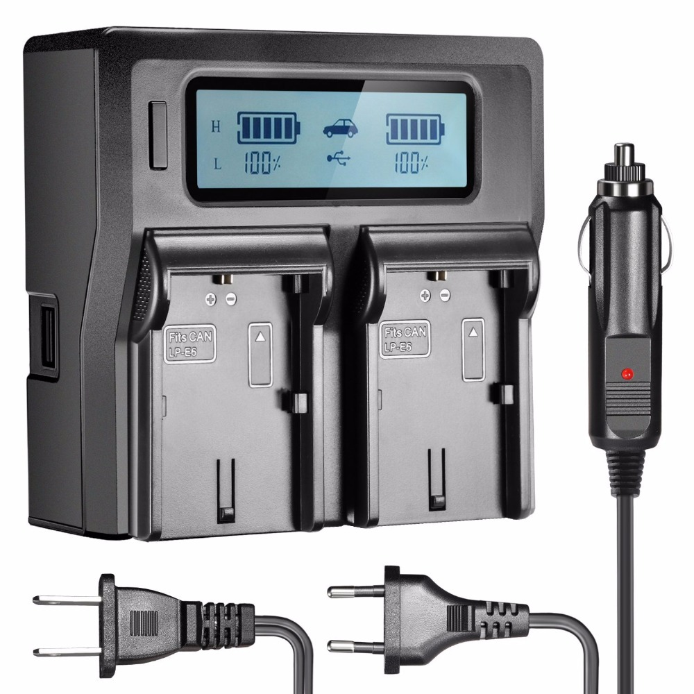 Neewer Dual LCD Battery Charger For Canon LP-E6 Batteries 7D 6D 5D II III 5Ds R 70D 60D 6D A 80D US Plug + EU Plug + Car Charger