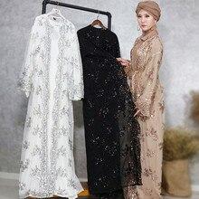 Luxury High Class Sequins Muslim Dress Embroidery Women Lace Sequin Cardigan Maxi Kimono Open Abaya Robe Kaftan Dubai 3.29