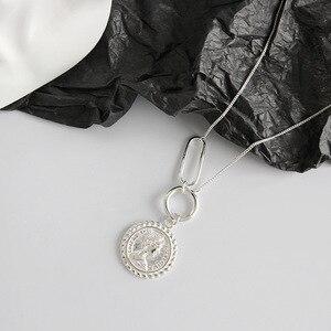 Image 2 - LouLeur 925 סטרלינג כסף בציר אליזבת מטבע תליון שרשרת כסף עגול כיכר אבזם עיצוב שרשרת נקבה תכשיטים