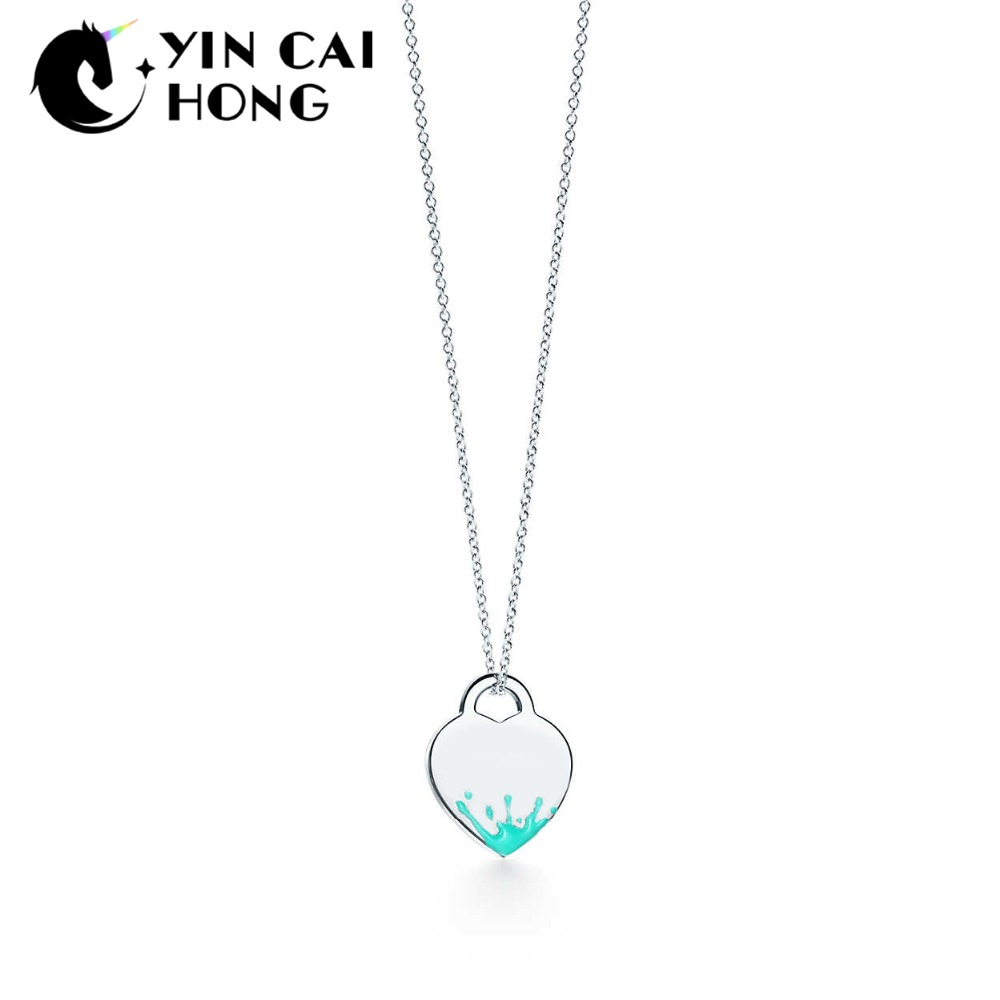 NEW 100% 925 Sterling Silver Colored Splash Heart-shaped Charm Necklace Original Jewelry Charming Women GiftNEW 100% 925 Sterling Silver Colored Splash Heart-shaped Charm Necklace Original Jewelry Charming Women Gift