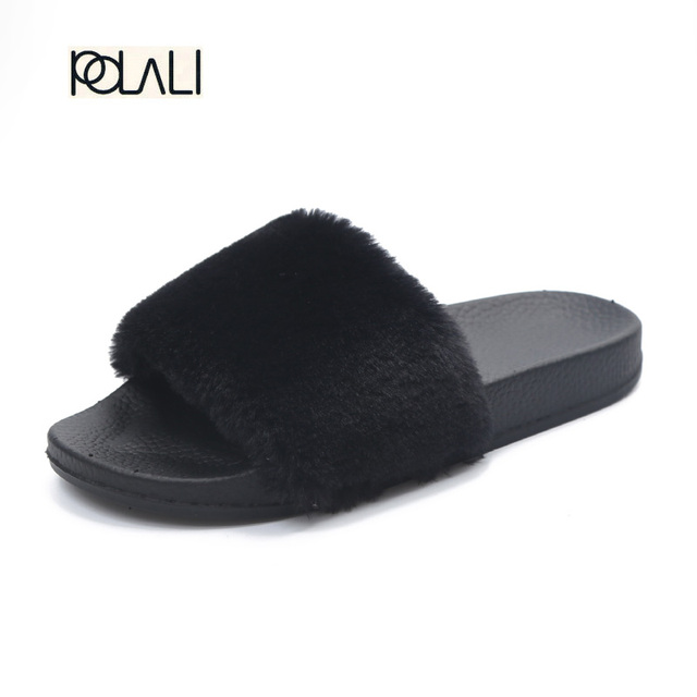 POLALI Indoor Fur Slippers 2016 Warm Platform Shoes Woman Slip On Soft Flats Casual Floor Slipper Women Home Shoes XWT556