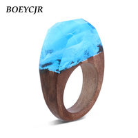 BOEYCJR Blue Color Wood Resin Rings Fashion Jewelry Ice World In The Glass Novel Wood Rings