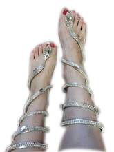 Big size 35- 46 women sandals Crystal Around Women Gladiator Sandal women Boots 2016 New Arrive Snake Flat Women Summer Shoes