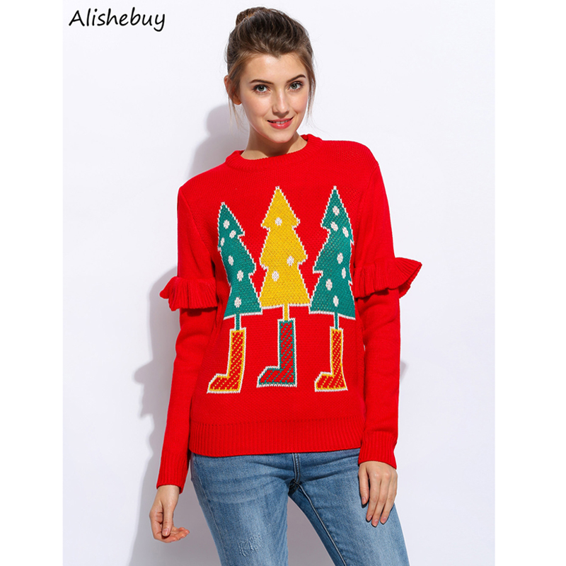 2018 Christmas Women Casual O-Neck Flouncing Long Sleeve Sweaters Christmas Tree Printing Pullover Knit Winter Sweater Red Black