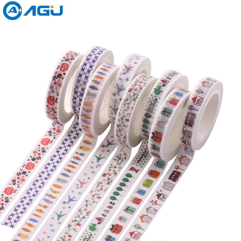 AAGU 1PC 8mm*7m 8 Patterns Flower Gift Christmas Skinny Washi Tape Lovely Cartoon High Viscosity Decorative Sticker Masking Tape aagu 1pc 8mm 7m label stationery red black dot stripe washi tape decorative masking tape lovely high viscosity paper sticker