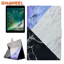 цена на Haweel Tablet Case For iPad 9.7 (2018) (2017) PU+TPU Black and Blue Marble Pattern Horizontal Flip Leather Case with Holder
