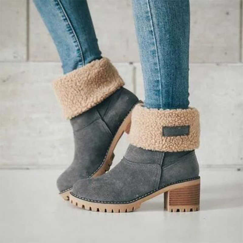 ผู้หญิงใหม่ฤดูหนาวกลางแจ้ง Keep WARM FUR รองเท้ากันน้ำรองเท้าบู๊ทหิมะผู้หญิงหนาหนากับรอบหัวสั้น boot